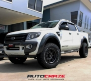 FORD RANGER WITH FUEL TROPHY MATTE ANTHRACITE WITH BLACK RING